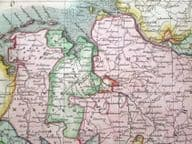 GERMANY, NORTH OF THE MAIN, JOHN THOMSON original antique hand coloured map 1817